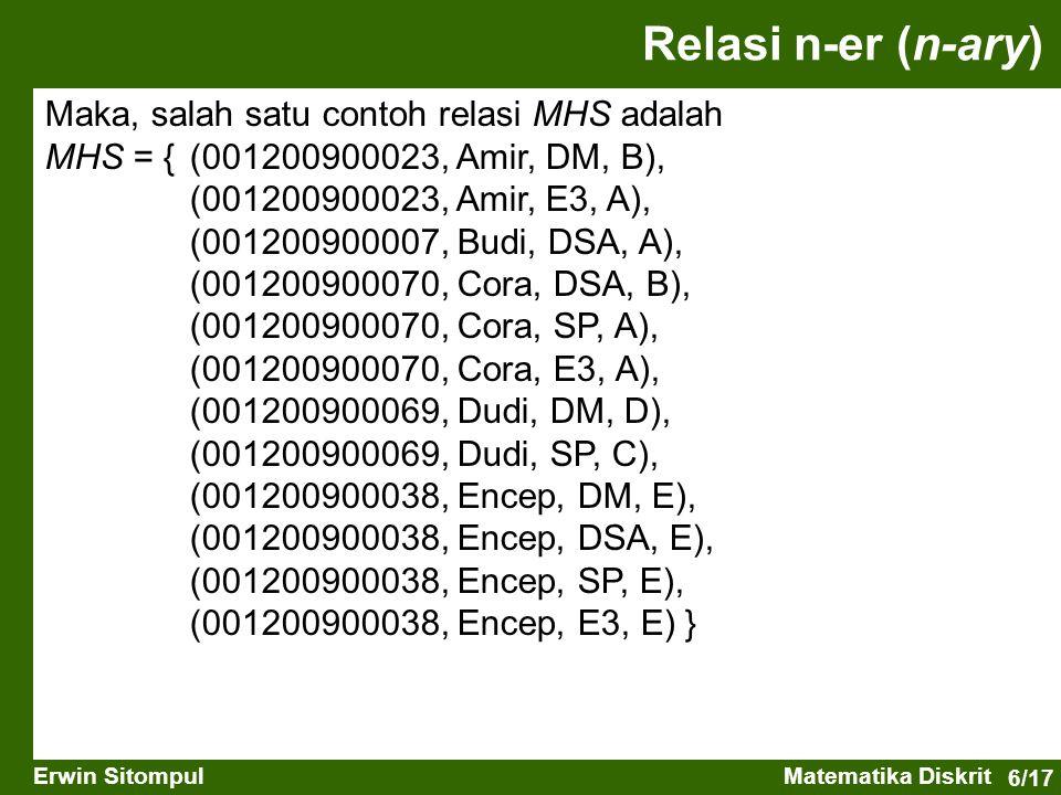 Relasi n-er (n-ary) Maka, salah satu contoh relasi MHS adalah