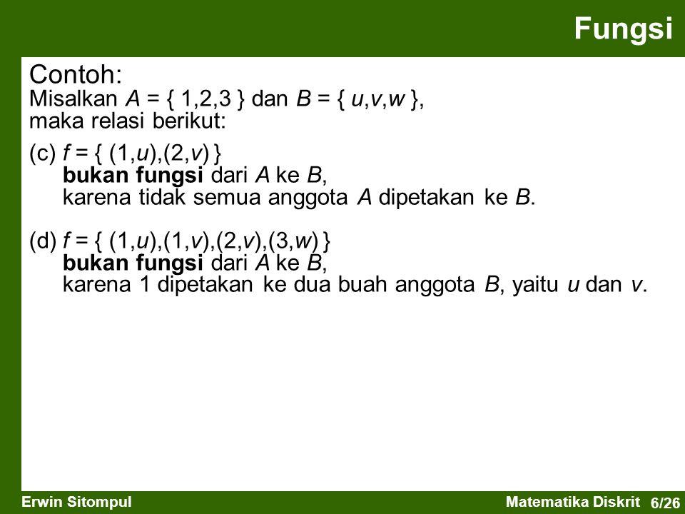 Fungsi Contoh: Misalkan A = { 1,2,3 } dan B = { u,v,w },
