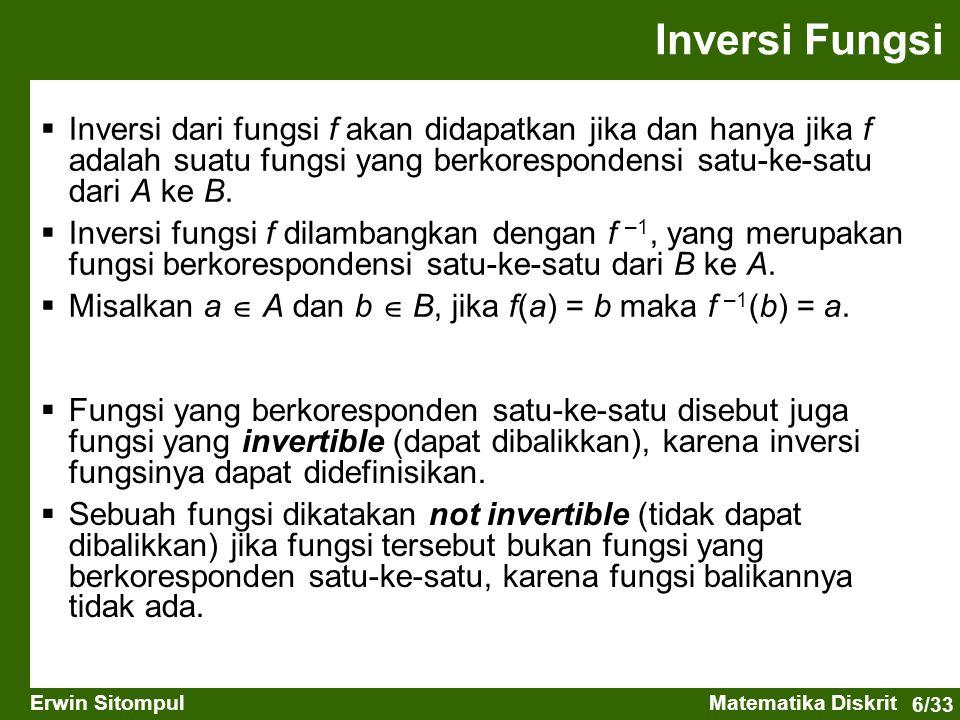 Inversi Fungsi Inversi dari fungsi f akan didapatkan jika dan hanya jika f adalah suatu fungsi yang berkorespondensi satu-ke-satu dari A ke B.