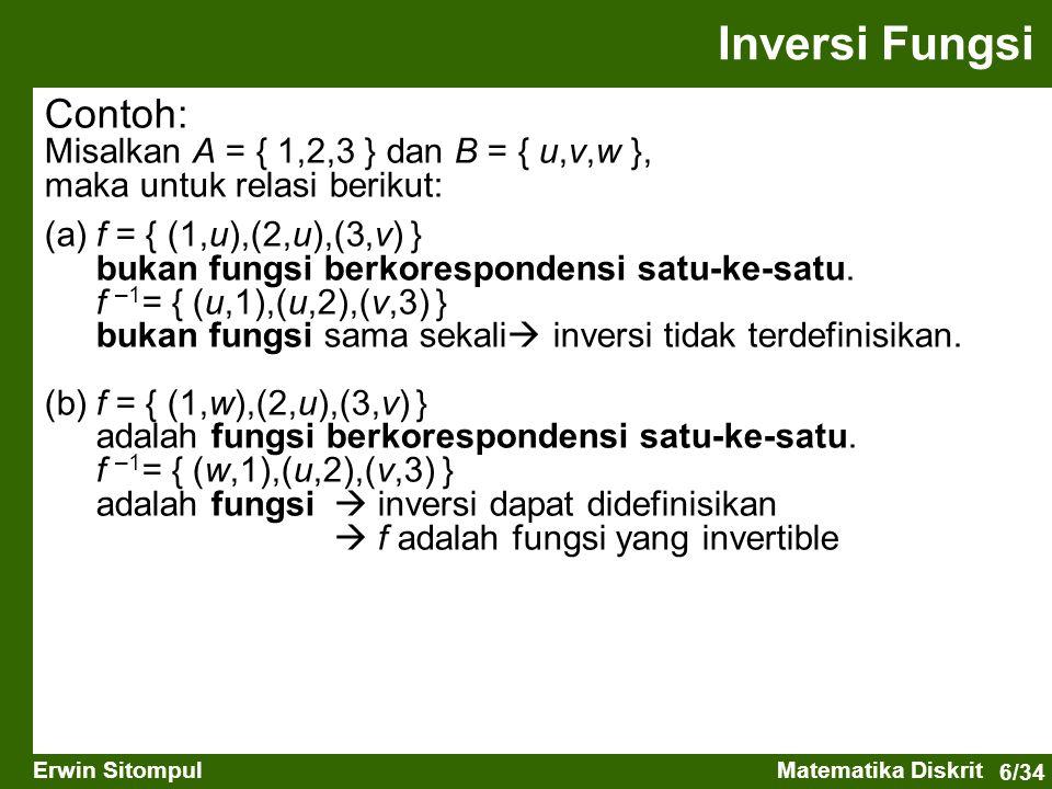 Inversi Fungsi Contoh: Misalkan A = { 1,2,3 } dan B = { u,v,w },
