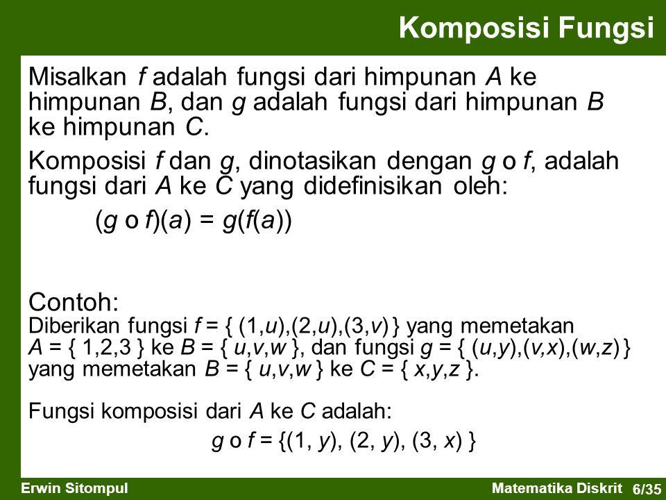 Komposisi Fungsi Misalkan f adalah fungsi dari himpunan A ke himpunan B, dan g adalah fungsi dari himpunan B ke himpunan C.