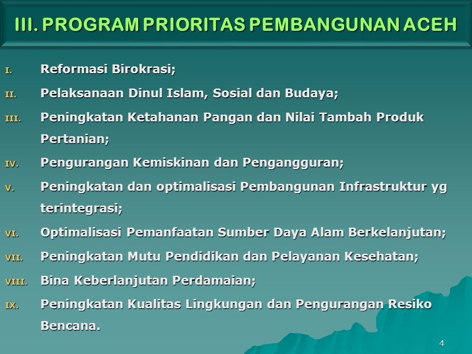 III. PROGRAM PRIORITAS PEMBANGUNAN ACEH