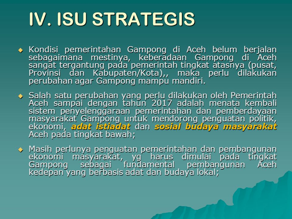 IV. ISU STRATEGIS