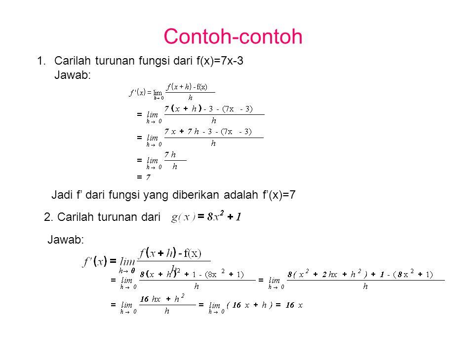 Contoh-contoh Carilah turunan fungsi dari f(x)=7x-3 Jawab: