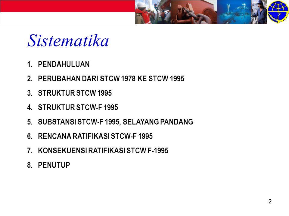 Sistematika PENDAHULUAN PERUBAHAN DARI STCW 1978 KE STCW 1995