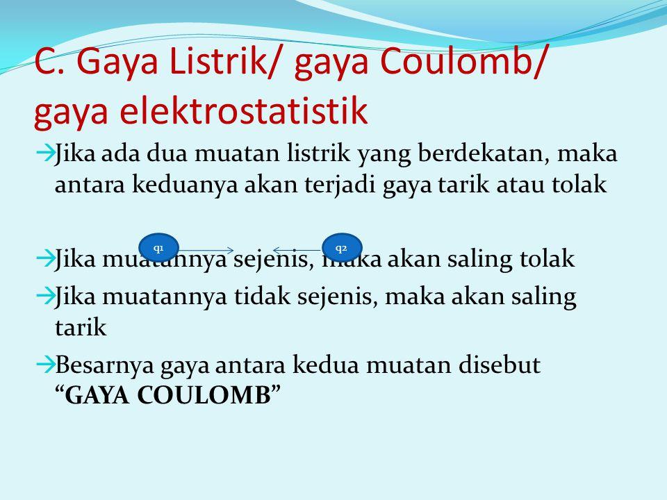 C. Gaya Listrik/ gaya Coulomb/ gaya elektrostatistik