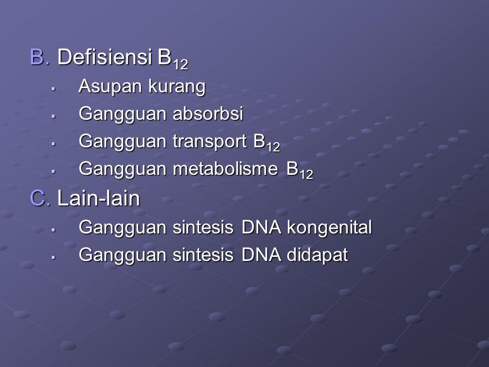 Defisiensi B12 Lain-lain Asupan kurang Gangguan absorbsi