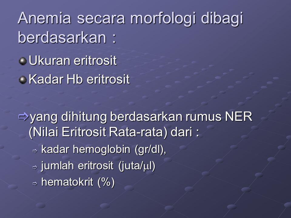 Anemia secara morfologi dibagi berdasarkan :