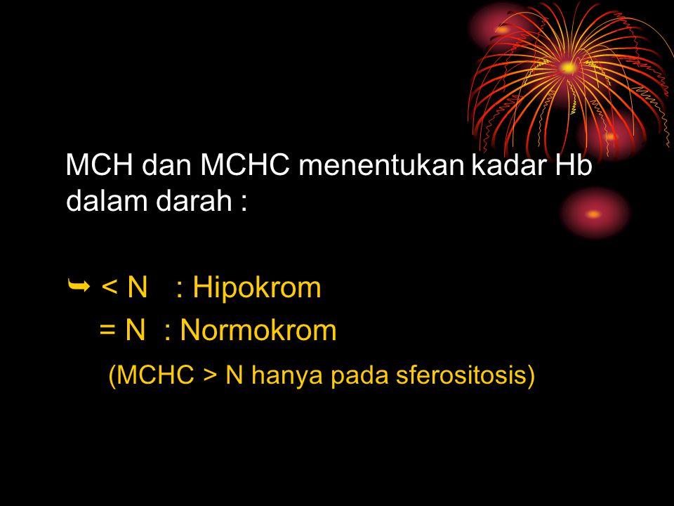 MCH dan MCHC menentukan kadar Hb dalam darah :