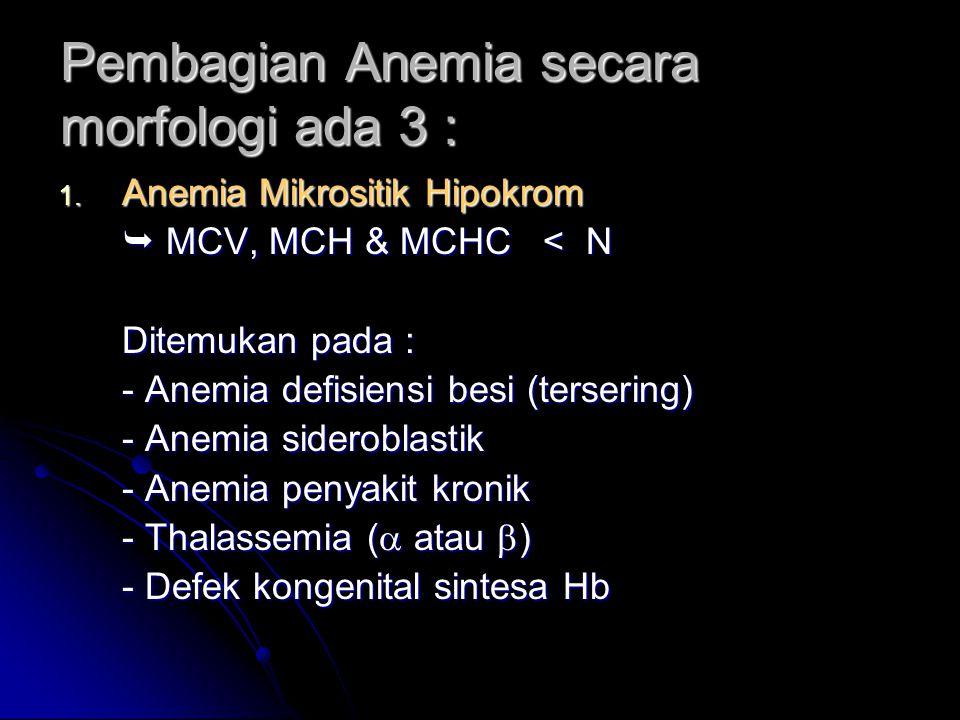 Pembagian Anemia secara morfologi ada 3 :