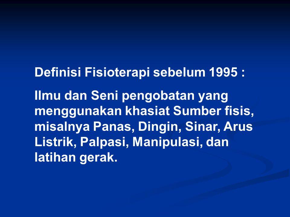 Definisi Fisioterapi sebelum 1995 :