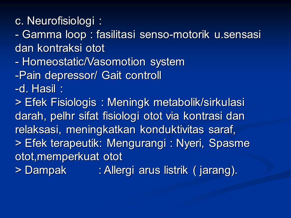 c. Neurofisiologi : - Gamma loop : fasilitasi senso-motorik u.sensasi dan kontraksi otot. - Homeostatic/Vasomotion system.