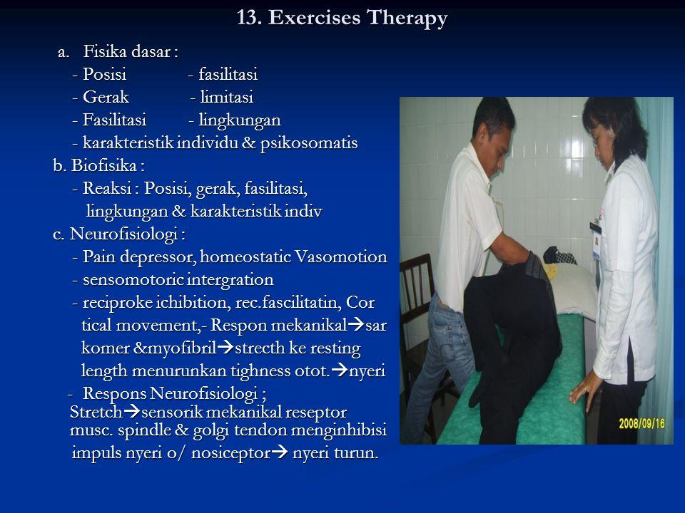 13. Exercises Therapy a. Fisika dasar : - Posisi - fasilitasi