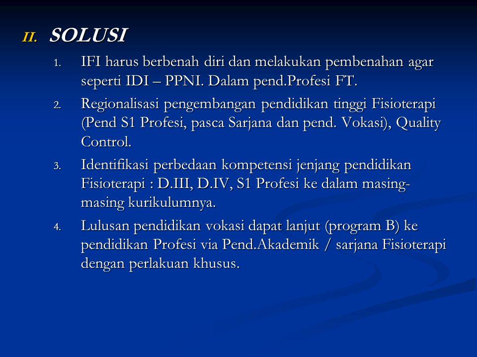 SOLUSI IFI harus berbenah diri dan melakukan pembenahan agar seperti IDI – PPNI. Dalam pend.Profesi FT.