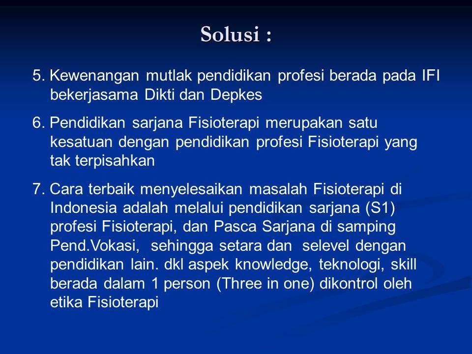 Solusi : 5. Kewenangan mutlak pendidikan profesi berada pada IFI bekerjasama Dikti dan Depkes.