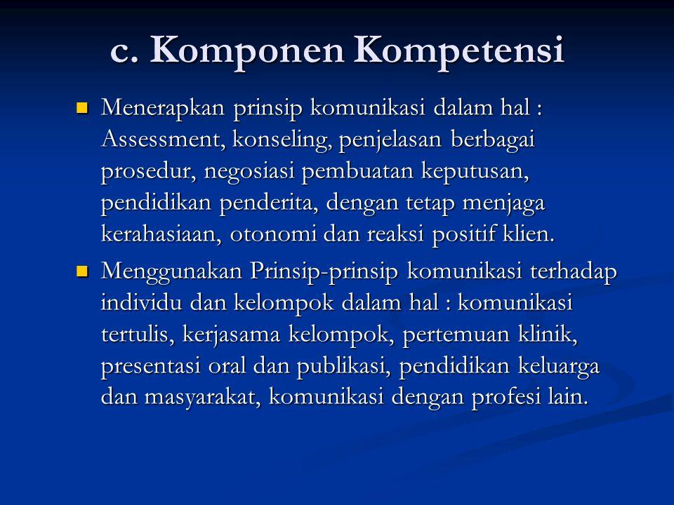 c. Komponen Kompetensi