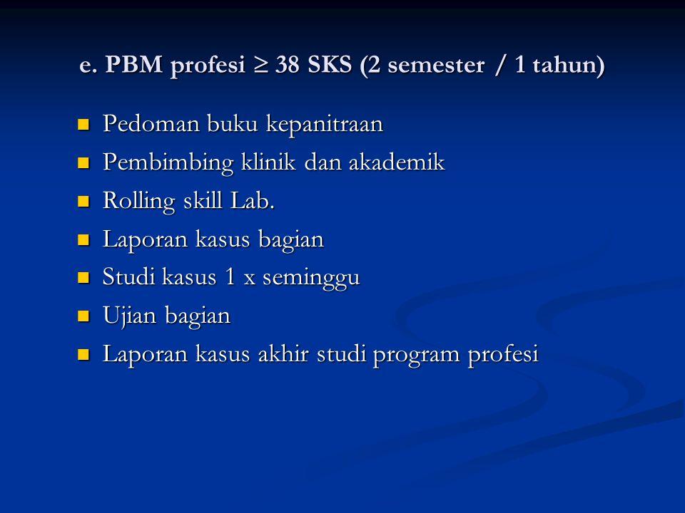 e. PBM profesi  38 SKS (2 semester / 1 tahun)