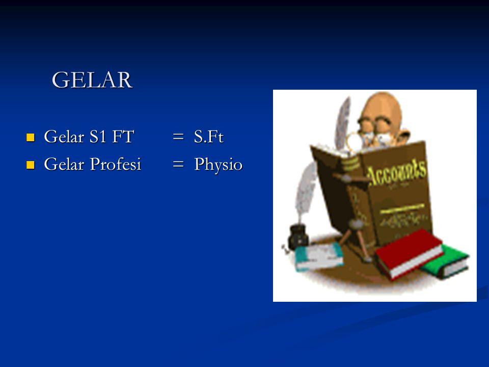 GELAR Gelar S1 FT = S.Ft Gelar Profesi = Physio