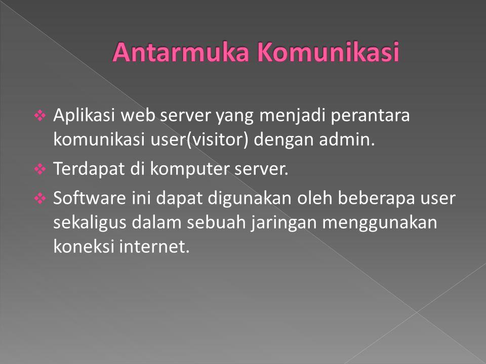 Antarmuka Komunikasi Aplikasi web server yang menjadi perantara komunikasi user(visitor) dengan admin.