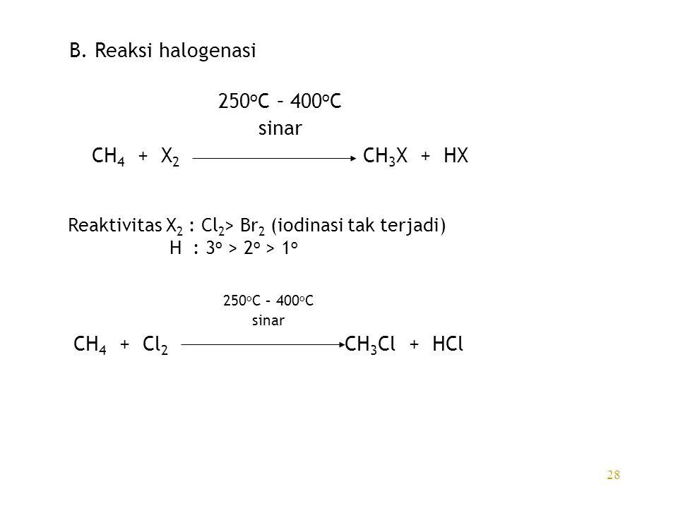 B. Reaksi halogenasi 250oC – 400oC sinar CH4 + X2 CH3X + HX