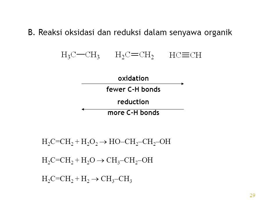 B. Reaksi oksidasi dan reduksi dalam senyawa organik