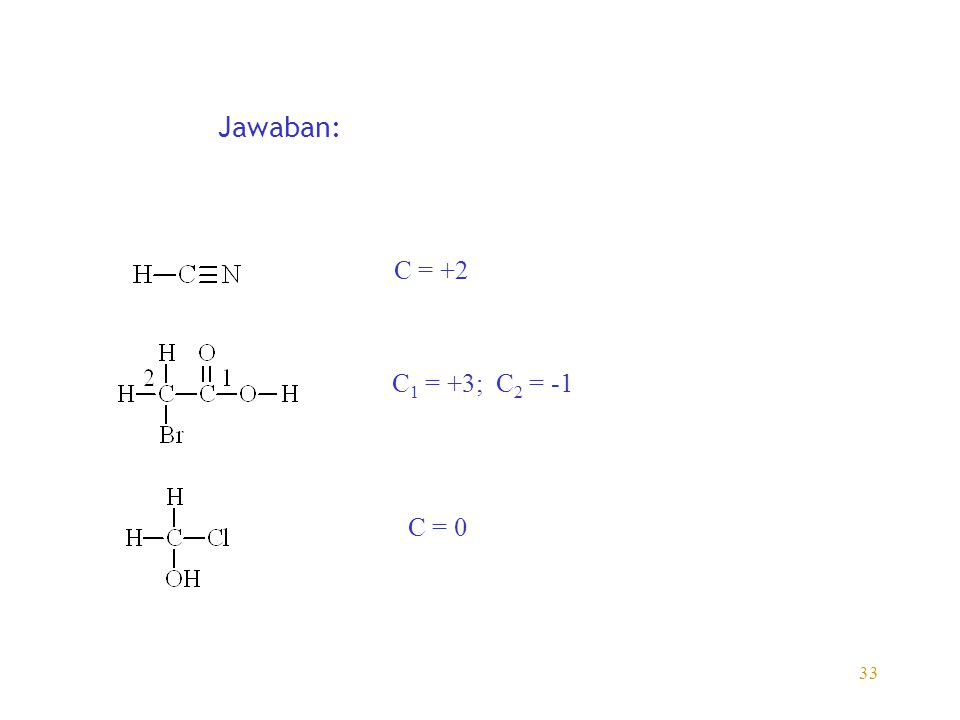 Jawaban: C = +2 C1 = +3; C2 = -1 C = 0