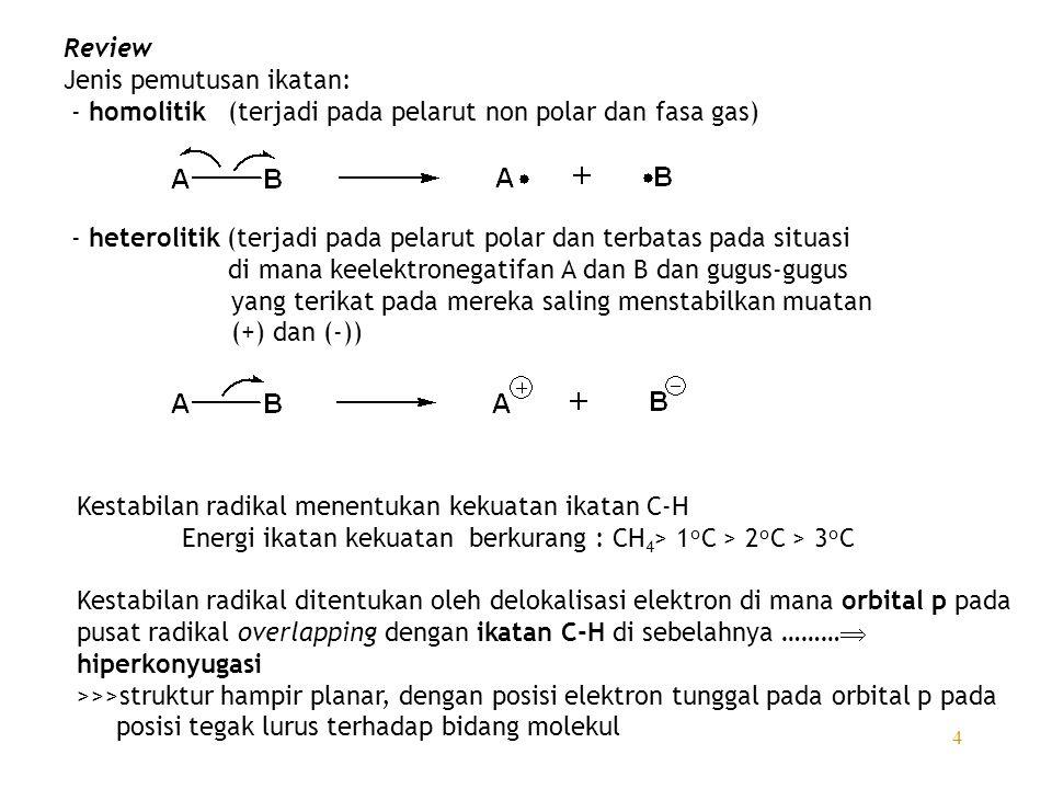 Review Jenis pemutusan ikatan: - homolitik (terjadi pada pelarut non polar dan fasa gas)
