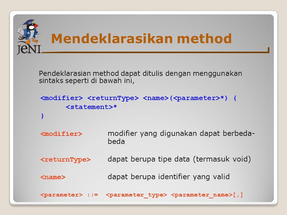 Mendeklarasikan method
