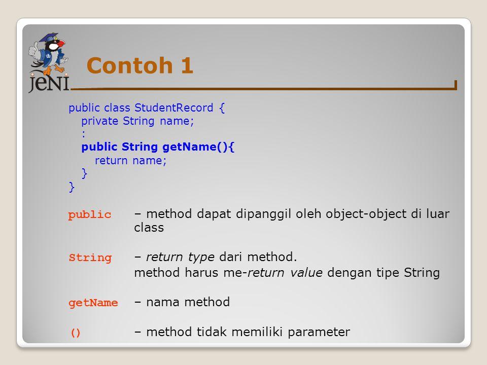 Contoh 1 public class StudentRecord { private String name; : public String getName(){ return name;