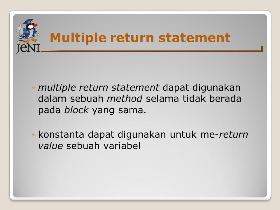Multiple return statement