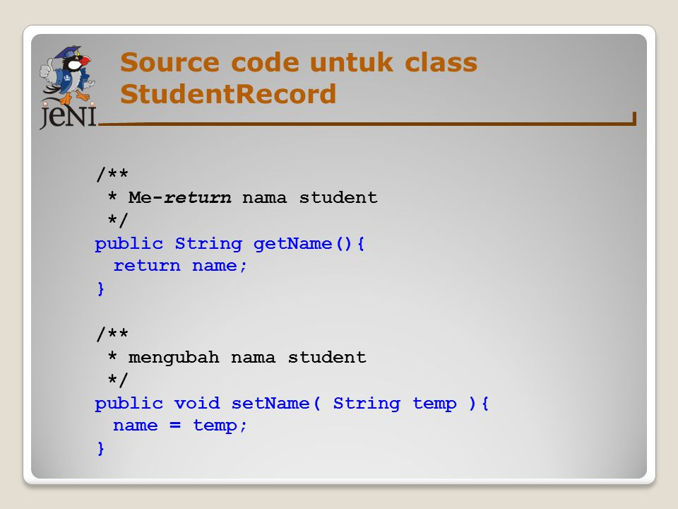 Source code untuk class StudentRecord