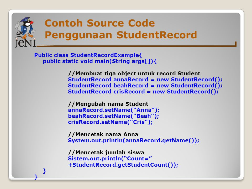 Contoh Source Code Penggunaan StudentRecord