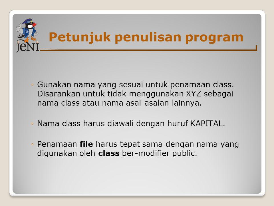 Petunjuk penulisan program