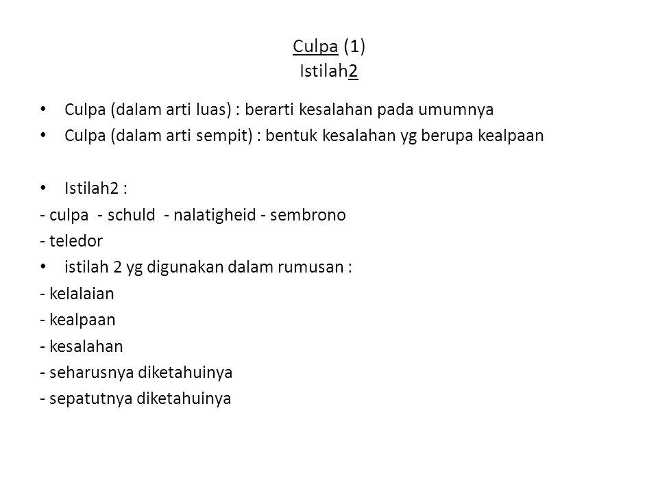 Culpa (1) Istilah2 Culpa (dalam arti luas) : berarti kesalahan pada umumnya. Culpa (dalam arti sempit) : bentuk kesalahan yg berupa kealpaan.