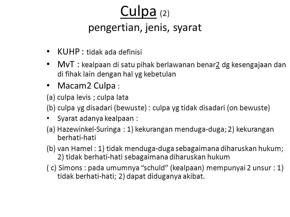 Culpa (2) pengertian, jenis, syarat