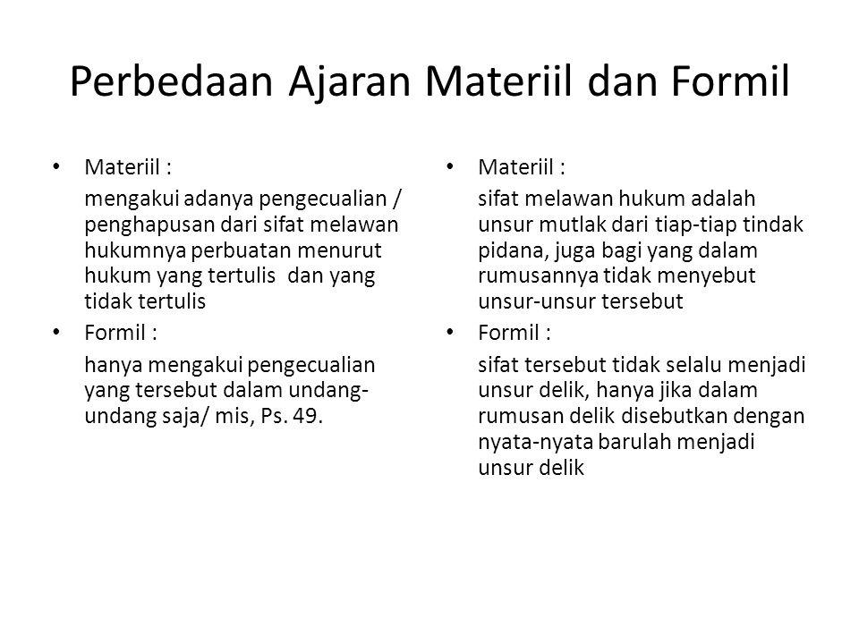 Perbedaan Ajaran Materiil dan Formil