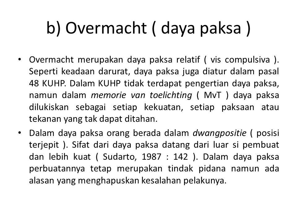 b) Overmacht ( daya paksa )