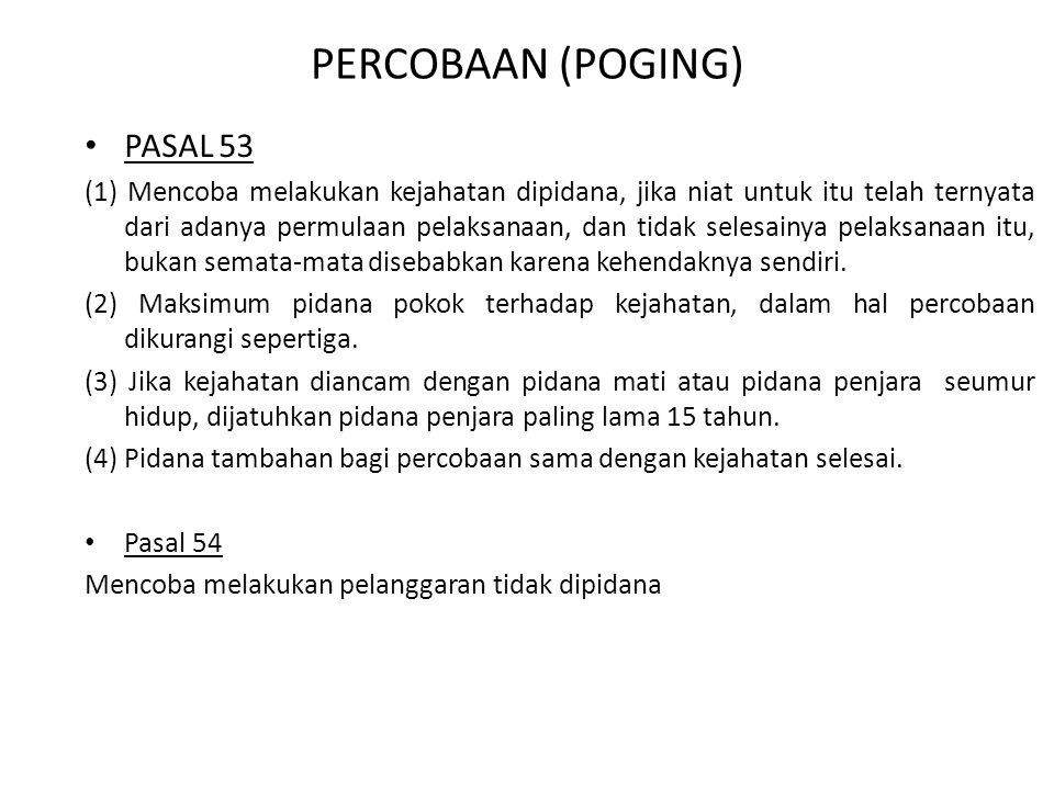 PERCOBAAN (POGING) PASAL 53