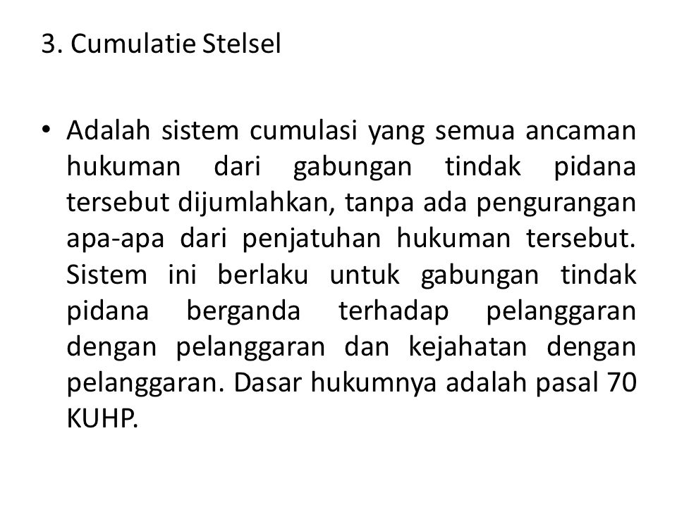 3. Cumulatie Stelsel