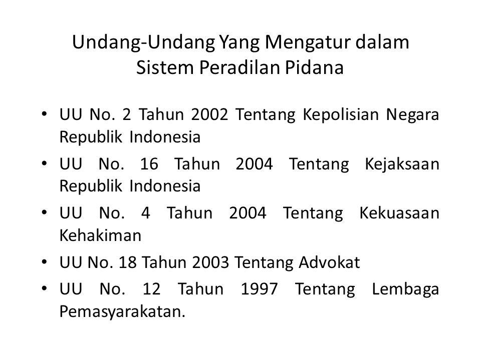 Undang-Undang Yang Mengatur dalam Sistem Peradilan Pidana