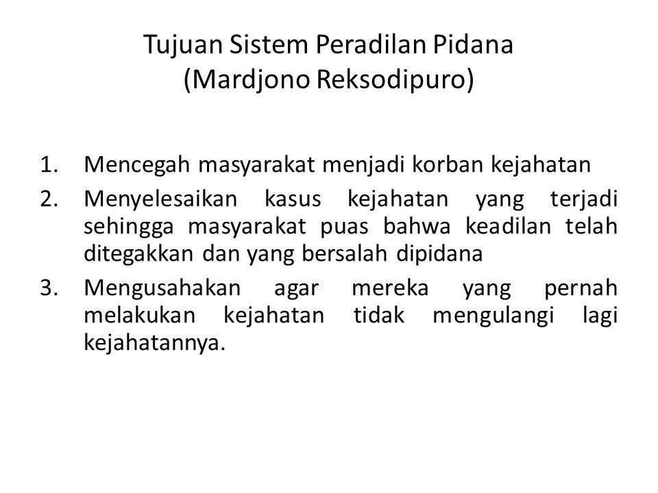 Tujuan Sistem Peradilan Pidana (Mardjono Reksodipuro)