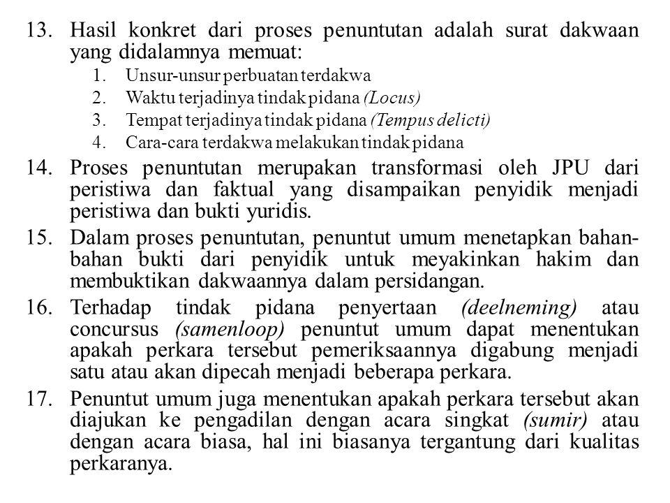 Hasil konkret dari proses penuntutan adalah surat dakwaan yang didalamnya memuat: