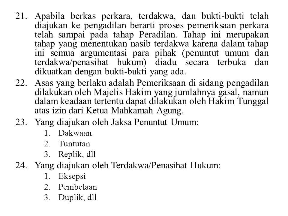 Yang diajukan oleh Jaksa Penuntut Umum: