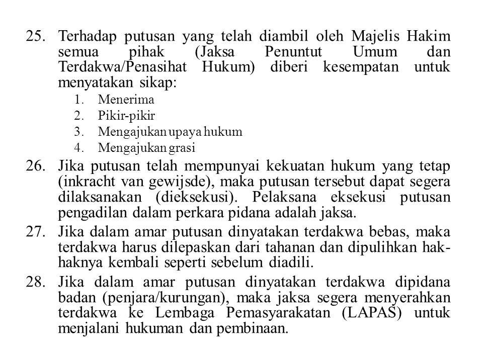 Terhadap putusan yang telah diambil oleh Majelis Hakim semua pihak (Jaksa Penuntut Umum dan Terdakwa/Penasihat Hukum) diberi kesempatan untuk menyatakan sikap: