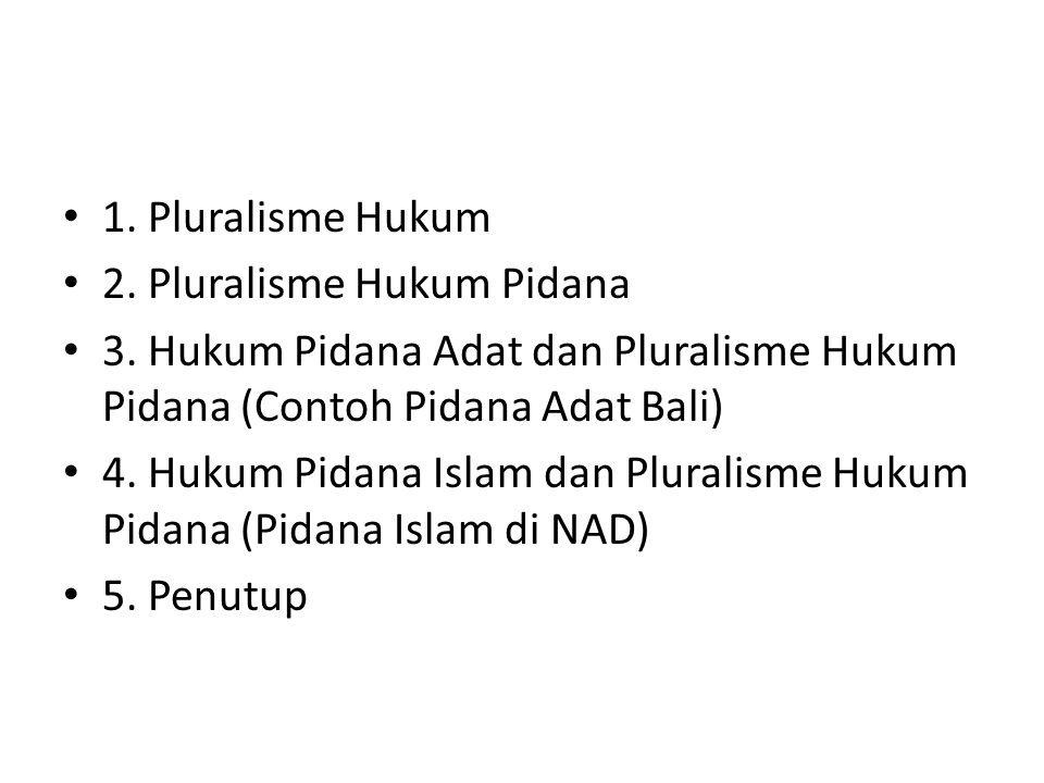 1. Pluralisme Hukum 2. Pluralisme Hukum Pidana. 3. Hukum Pidana Adat dan Pluralisme Hukum Pidana (Contoh Pidana Adat Bali)