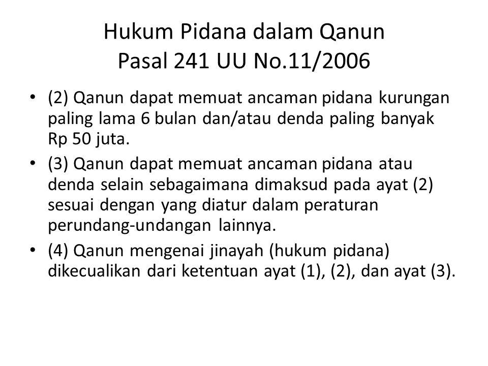 Hukum Pidana dalam Qanun Pasal 241 UU No.11/2006