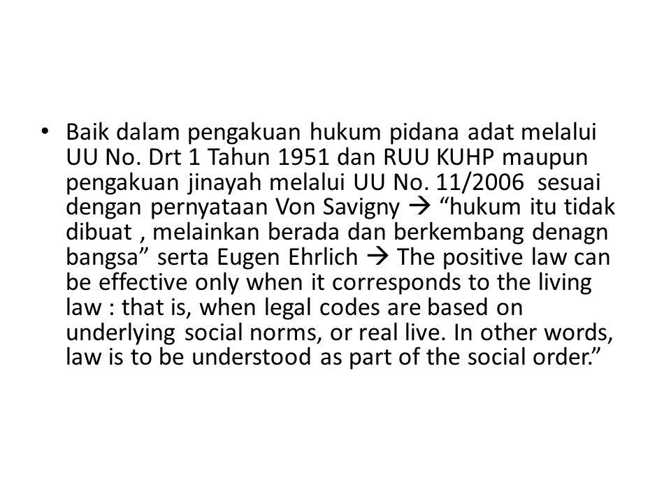 Baik dalam pengakuan hukum pidana adat melalui UU No
