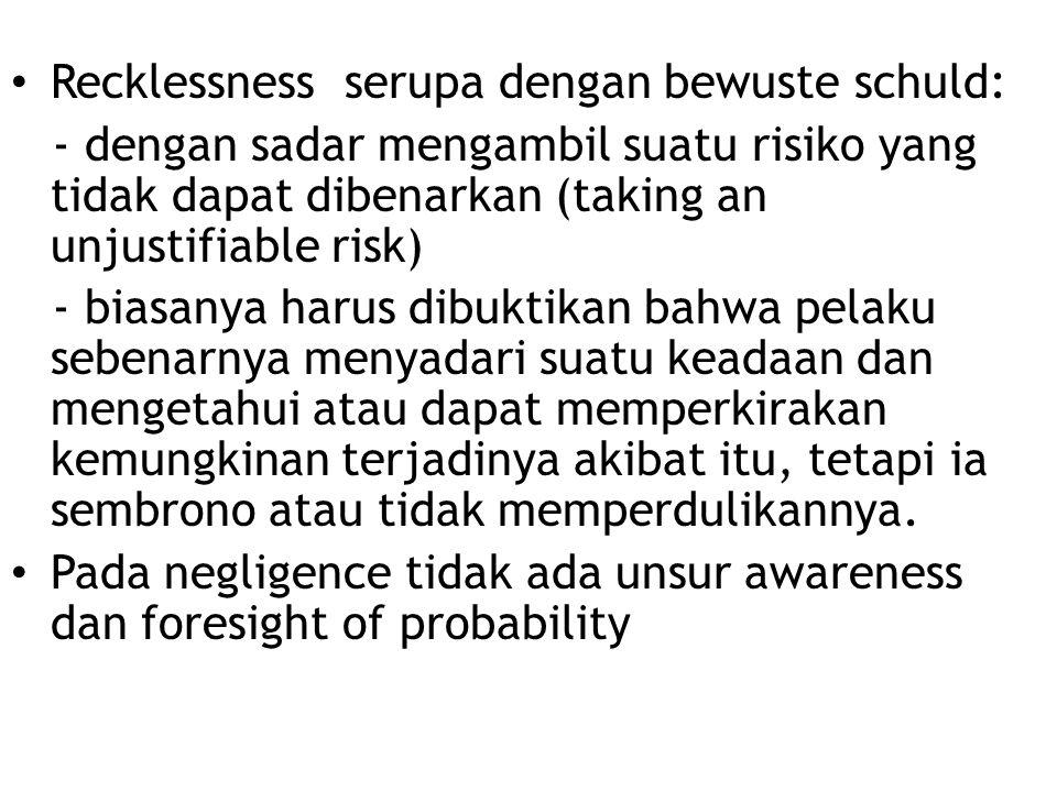 Recklessness serupa dengan bewuste schuld: