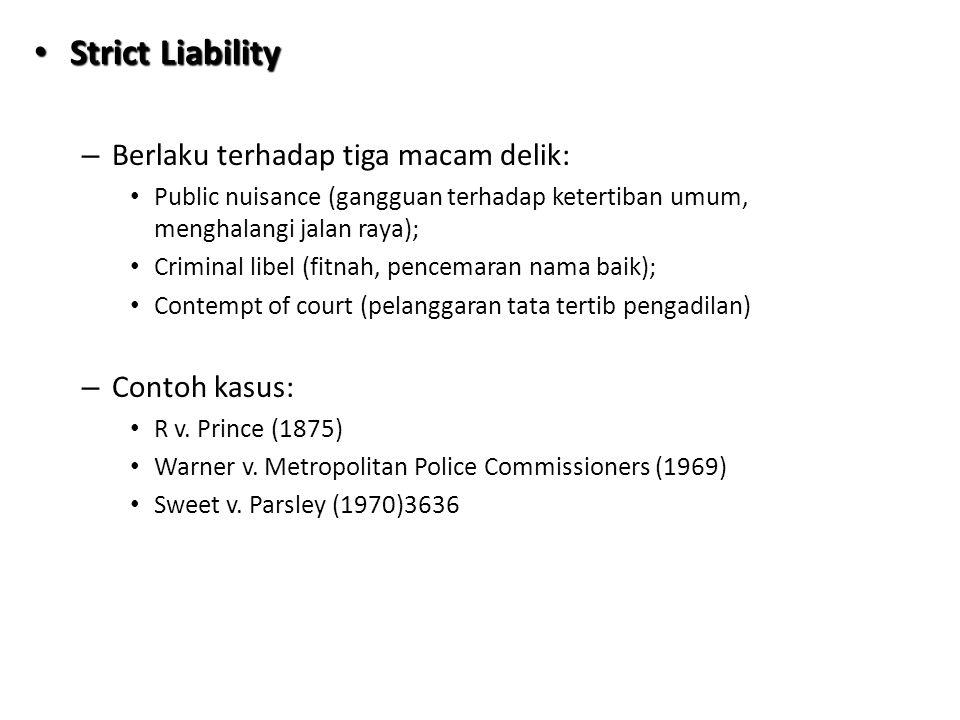 Strict Liability Berlaku terhadap tiga macam delik: Contoh kasus: