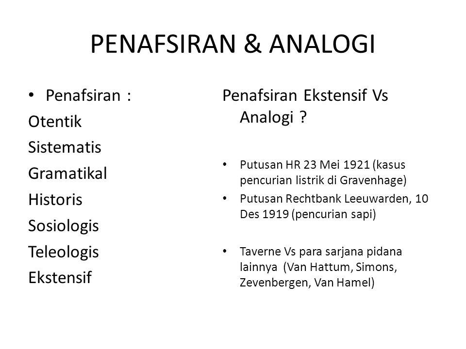 PENAFSIRAN & ANALOGI Penafsiran : Otentik Sistematis Gramatikal
